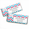 Chevron Gender Reveal - Personalized Candy Bar Wrappers Party Favors - Set of 24