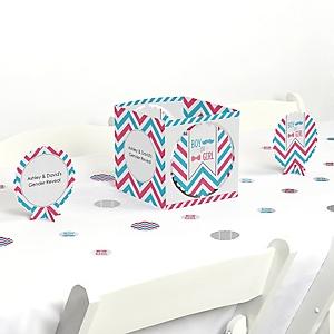 Chevron Gender Reveal - Baby Shower Centerpiece & Table Decoration Kit