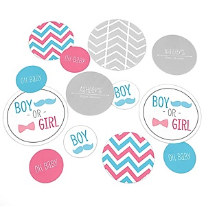Chevron Gender Reveal - Personalized Baby Shower Table Confetti - 27 ct