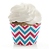 Chevron Gender Reveal - Baby Shower Decorations - Party Cupcake Wrappers - Set of 12