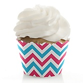 Chevron Gender Reveal - Baby Shower Cupcake Wrappers & Decorations