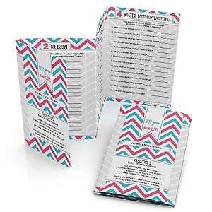 Chevron Gender Reveal - Personalized Baby Shower Fabulous 5 Games