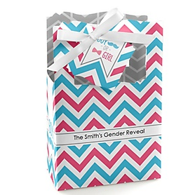 Chevron Gender Reveal - Personalized Baby Shower Favor Boxes - Set of 12