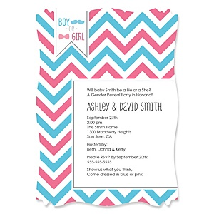 Chevron Gender Reveal - Personalized Party Invitations - Set of 12