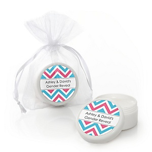 Chevron Gender Reveal - Personalized Baby Shower Lip Balm Favors - Set of 12