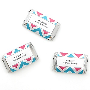 Chevron Gender Reveal - Personalized Baby Shower Mini Candy Bar Wrapper Favors - 20 ct