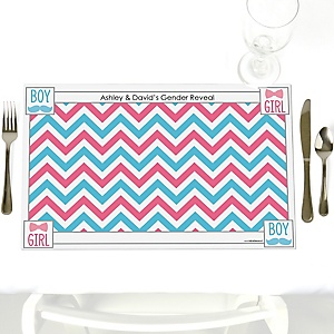 Chevron Gender Reveal - Personalized Baby Shower Placemats