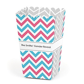 Chevron Gender Reveal - Personalized Gender Reveal Popcorn Favor Treat Boxes - Set of 12