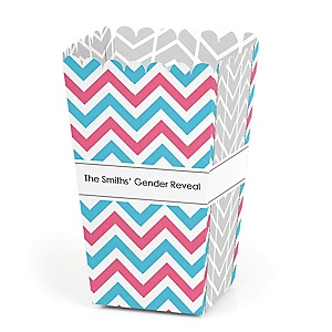 Chevron Gender Reveal - Personalized Gender Reveal Popcorn Favor Treat Boxes - Set of 12