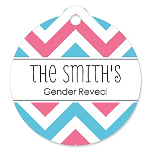 Chevron Gender Reveal - Round Personalized Baby Shower Tags - 20 ct