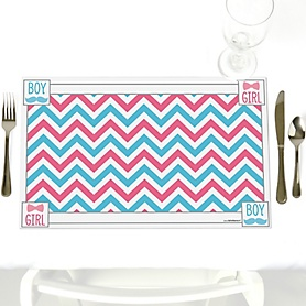 Chevron Gender Reveal - Party Table Decorations - Baby Shower Placemats - Set of 12