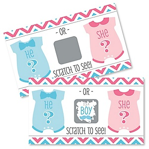 Boy Chevron Gender Reveal - Baby Boy Gender Reveal Scratch Off Cards - Baby Shower Game - Set of 22