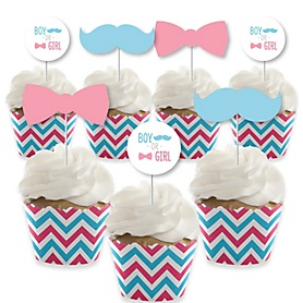 Chevron Gender Reveal - Cupcake Decoration - Gender Reveal Cupcake Wrappers and Treat Picks Kit - Set of 24