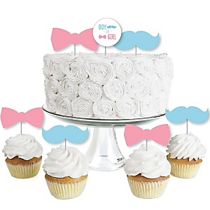 Chevron Gender Reveal - Dessert Cupcake Toppers - Gender Reveal Clear Treat Picks - Set of 24