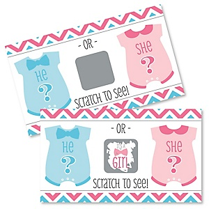 Girl Chevron Gender Reveal - Baby Girl Gender Reveal Scratch Off Cards - Baby Shower Game - Set of 22