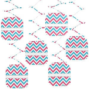 Gender Reveal - Baby Shower Hanging Decorations - 6 ct