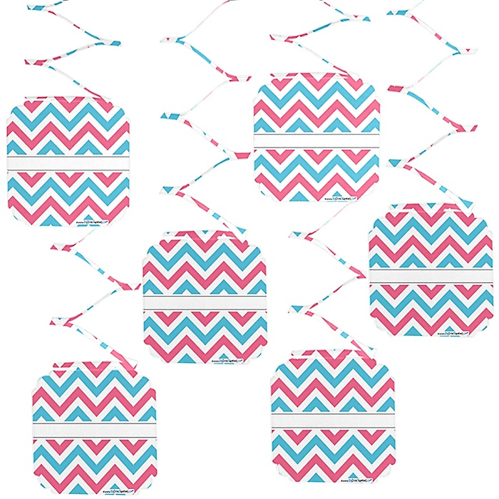 Chevron Gender Reveal - Baby Shower Hanging Decorations - 6 ct