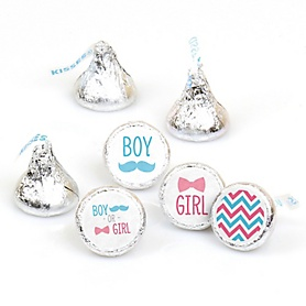 Chevron Gender Reveal - Round Candy Labels Gender Reveal Favors - Fits Hershey's Kisses - 108 ct
