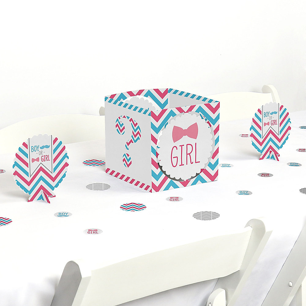 Chevron Gender Reveal Gender Reveal Centerpiece And Table Decoration Kit