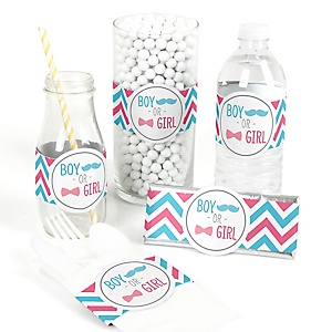Chevron Gender Reveal - DIY Party Wrappers - 15 ct