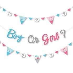 Chevron Gender Reveal - Gender Reveal Letter Banner Decoration - 36 Banner Cutouts and Boy Or Girl? Banner Letters