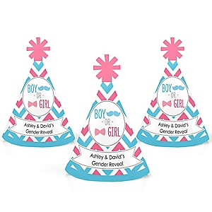 Chevron Gender Reveal - Personalized Mini Cone Gender Reveal Party Hats - Small Little Party Hats - Set of 10
