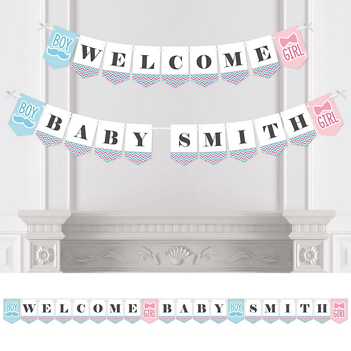 Chevron Gender Reveal - Personalized Gender Reveal Bunting Banner and Decorations