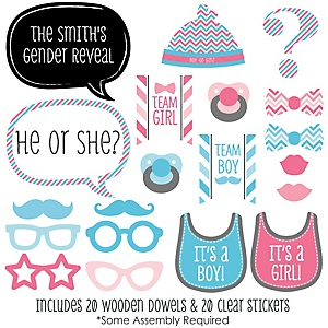 Chevron Gender Reveal - 20 Piece Photo Booth Props Kit