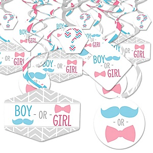 Chevron Gender Reveal - Gender Reveal Hanging Decor - Party Decoration Swirls - Set of 40