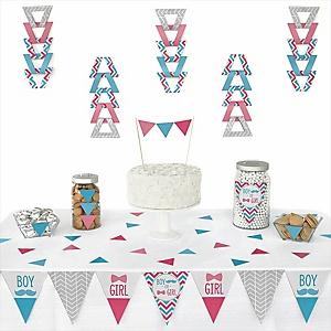 Chevron Gender Reveal - 72 Piece Triangle Party Decoration Kit