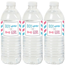 Chevron Gender Reveal - Gender Reveal Water Bottle Sticker Labels - Set of 20