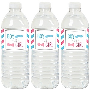 Chevron Gender Reveal - Gender Reveal Water Bottle Sticker Labels - Set of 20
