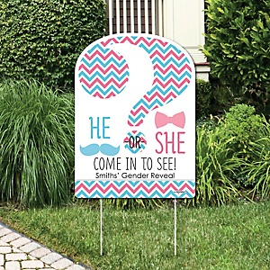 Chevron Gender Reveal - Party Decorations - Gender Reveal Party Personalized Welcome Yard Sign