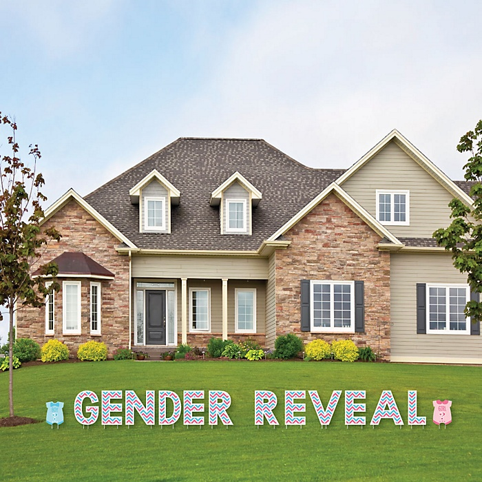 Chevron Gender Reveal - Yard Sign Outdoor Lawn Decorations - Gender Reveal Yard Signs - Gender Reveal