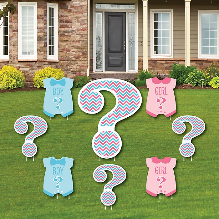 Chevron Gender Reveal - Yard Sign & Outdoor Lawn Decorations - Gender Reveal Yard Signs - Set of 8
