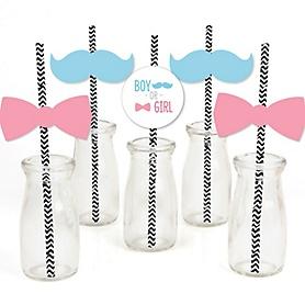 Chevron Gender Reveal - Paper Straw Decor - Baby Shower Striped Decorative Straws - Set of 24