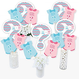 Chevron Gender Reveal - Gender Reveal Party Centerpiece Sticks - Table Toppers - Set of 15