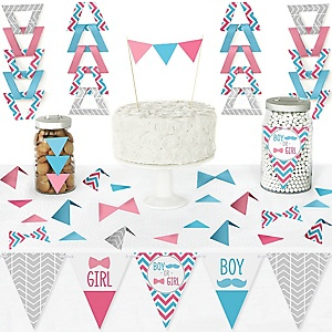 Chevron Gender Reveal - DIY  Pennant Banner Decorations - Gender Reveal Triangle Kit - 99 Pieces