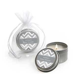 Gray Chevron - Candle Tin Personalized Baby Shower Favors