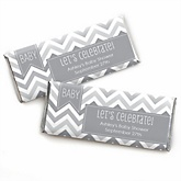 Chevron Gray - Personalized Baby Shower Candy Bar Wrapper Favors