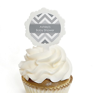 Chevron Gray - 12 Cupcake Picks & 24 Personalized Stickers - Baby Shower Cupcake Toppers