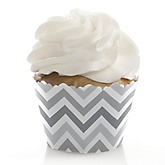 Chevron Gray - Baby Shower Cupcake Wrappers & Decorations