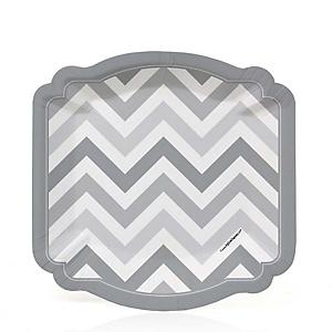Chevron Gray - Baby Shower Dessert Plates - 8 ct