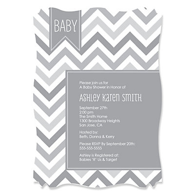 Chevron Gray   Personalized Baby Shower Invitations | BigDotOfHappiness.com
