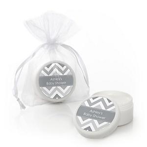 Chevron Gray - Personalized Baby Shower Lip Balm Favors