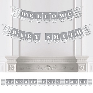 Gray Chevron - Personalized Baby Shower Bunting Banner