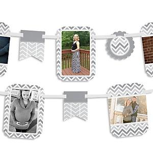 Chevron Gray - Baby Shower Photo Garland Banners