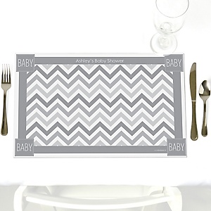 Chevron Gray - Personalized Baby Shower Placemats