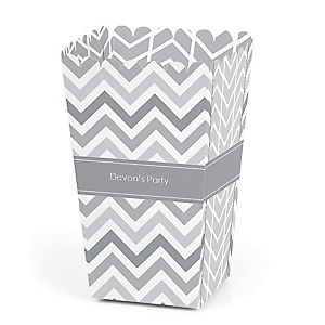 Chevron Gray - Personalized Party Popcorn Favor Treat Boxes - Set of 12