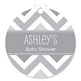 Chevron Gray - Round Personalized Baby Shower Tags - 20 ct
